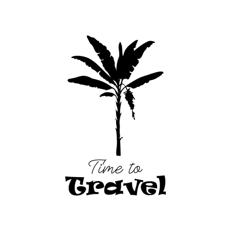 Vector drawn tropical icon symbol of black banana palm silhouette on white background. Time to travel icon design template.