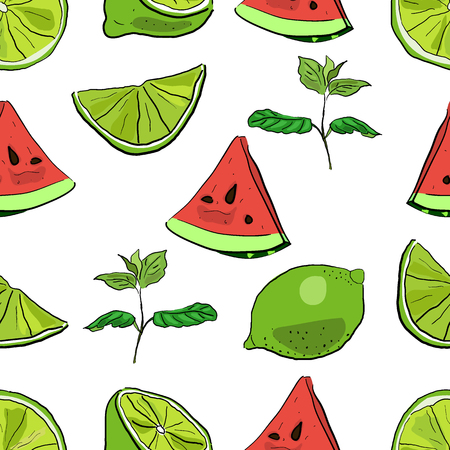 Seamless vector pattern of hand drawn colorful lime and watermelon segments with mint leaves.