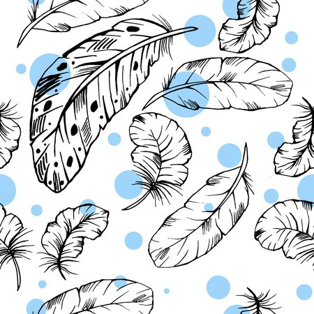 Seamless pattern of hand drawn vector ink feathers on white background.