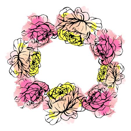 Vector hand drawn roses floral wreath isolated on white background. An idea for greeting, save the date, wedding celebration.