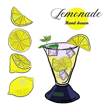Set of whole, half, slice lemon and glass of lemonade with ice cubes, sketch style vector illustration on white background. Hand drawn sketch. Иллюстрация