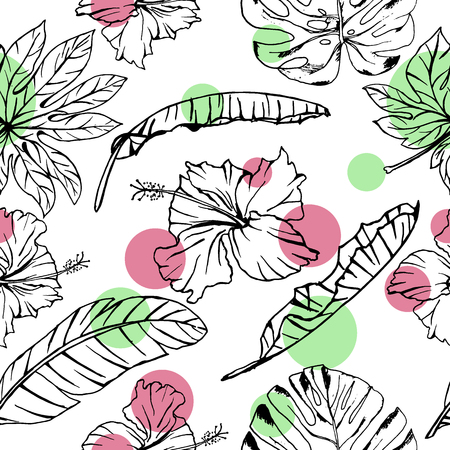 Seamless vector summer pattern of hand drawn ink tropical hibiscus flowers and banana leaves on white background with colorful circles. Fashion, pattern, journaling, logo, design, brand concept Иллюстрация