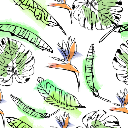 Seamless vector summer pattern of hand drawn ink tropical exotic flowers and banana leaves on watercolor background. Fashion, pattern, journaling, logo, design, brand concept