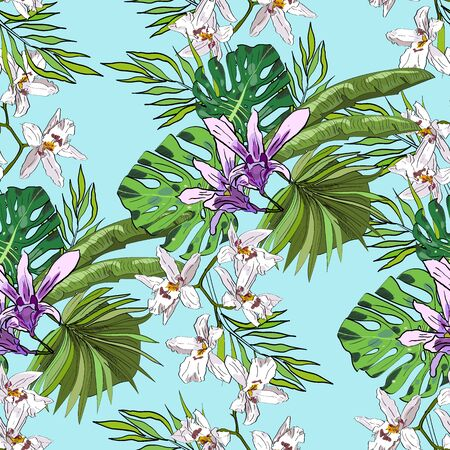 Tropical hand drawn exotic collection seamless pattern with leaves and flowers. Package, wallpaper, textile, cover, design.