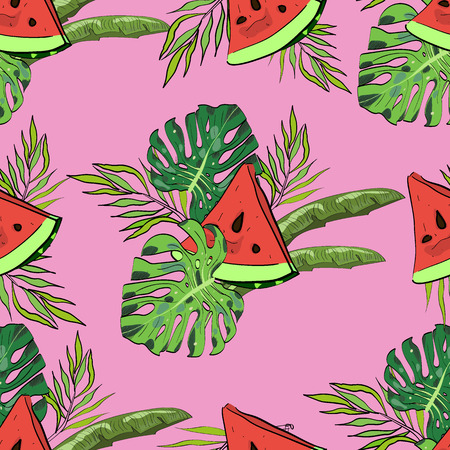 Tropical hand drawn exotic collection seamless pattern with leaves and watermelon. Great for Package, wallpaper, textile, cover, design. Иллюстрация