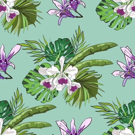 Tropical hand drawn exotic collection seamless pattern with leaves and flowers. Great for Package, wallpaper, textile, cover, design.