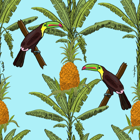 Tropical hand drawn exotic collection seamless pattern with palms, pineapples and toucans. Package, wallpaper, textile, cover, design.