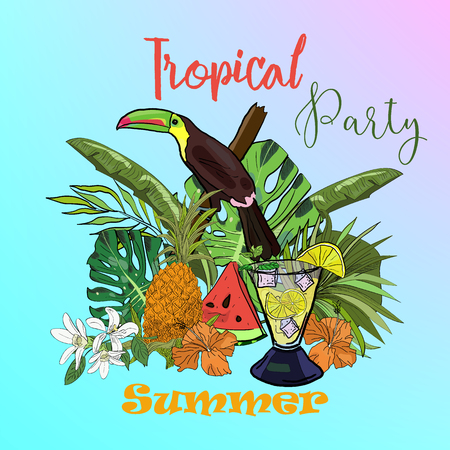 Summer party poster with isolated hand drawn flowers, fruits and toucan. Иллюстрация