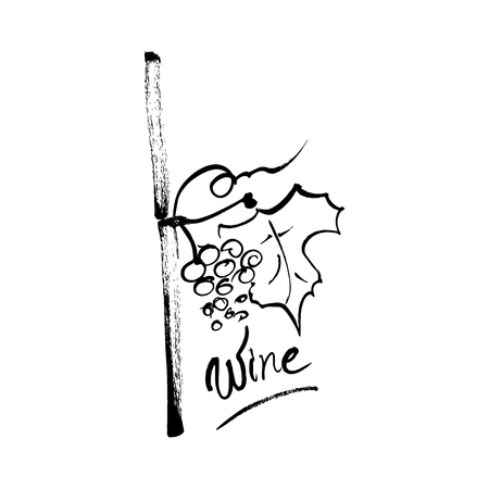 Hand drawn ink brush logo symbol of grapes and wine. An idea for winery design.