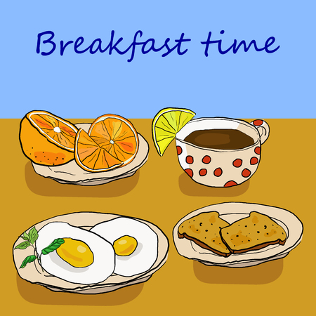 Delicious nourishing breakfast with eggs, coffee, orange and toasts on brown table. Sketch background vector illustration. Иллюстрация