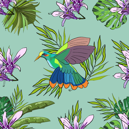 Tropical hand drawn exotic collection seamless pattern with leaves, flowers, and colibri. Package, wallpaper, textile, cover, design.