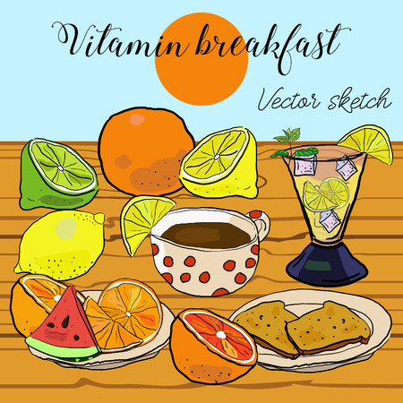 Delicious nourishing vitamin breakfast with fruits, coffee, orange and toasts on brown table. Sketch background vector illustration. Иллюстрация
