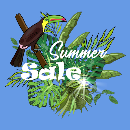 Summer sale tropical vector banner or flyer with banana, palm, monstera tropical leaves, sun and toucan in sketch style.