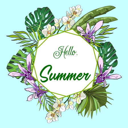 Hello summer tropical vector banner or flyer with banana, coconut, monstera tropical palm leaves and orchids. Иллюстрация