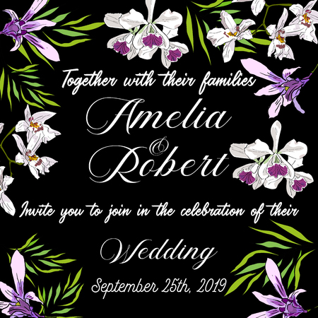 Vector drawn wedding invitation card with tropical orchids flowers isolated on black background.