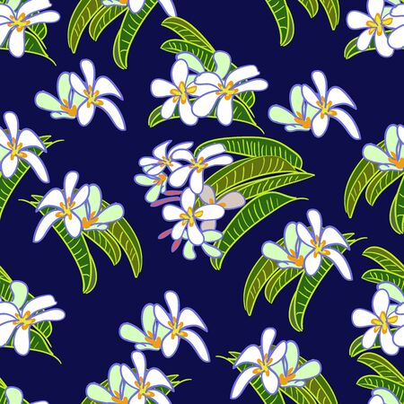 Tropical vector drawn exotic collection seamless pattern with frangipani flowers on blue background.