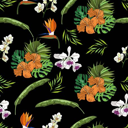 Tropical vector drawn exotic collection seamless pattern with palm leaves and orchids on black background. Иллюстрация