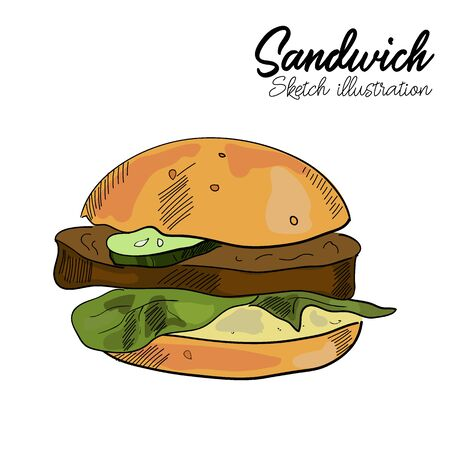 Sandwich vector hand drawn illustration on white background in sketch style.