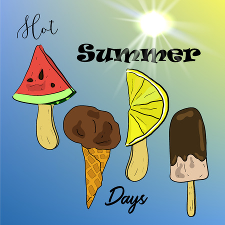 Hot summer days poster with bright vector hand drawn ice cream and bright sun in sketch style.