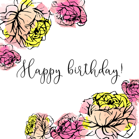 Happy birthday greeting card with hand drawn ink roses on watercolor background.
