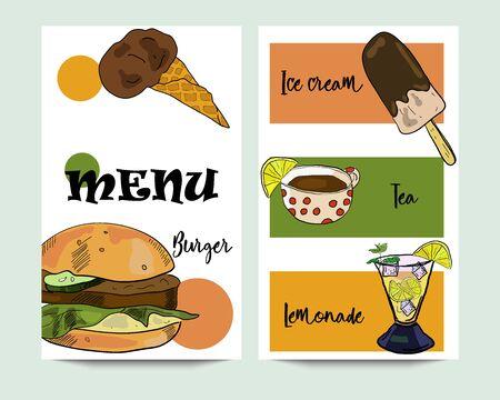 Vertical vector burger menu banners with ice cream, tea, and lemonade. Restaurant menu, cafe design template.
