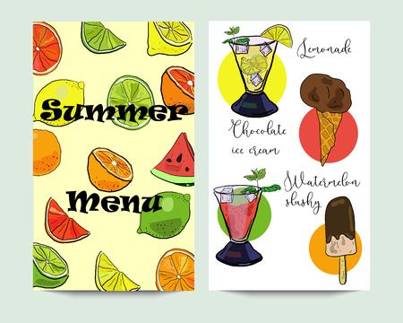 Vertical vectorsummer menu banners with ice cream, slushy, and lemonade. Restaurant menu, cafe design template.