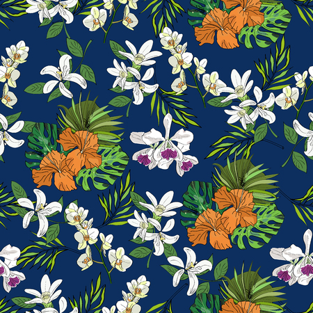 Tropical vector drawn exotic collection seamless pattern with palm leaves and orchids on blue background. Иллюстрация
