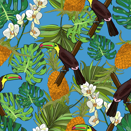 Tropical hand drawn exotic collection seamless pattern with leaves, pineapples, orchids and toucans. Package, wallpaper, textile, cover, design. Иллюстрация