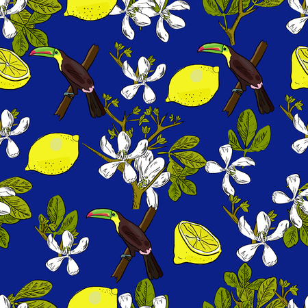 Tropical hand drawn exotic collection seamless pattern with leaves, lemons, citrus flowers and toucans. Package, wallpaper, textile, cover, design. Иллюстрация