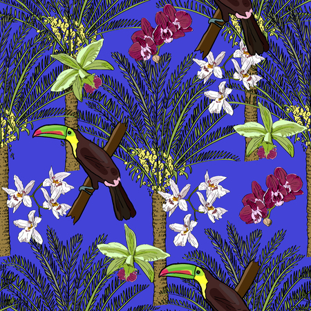 Tropical hand drawn exotic collection seamless pattern with palms, orchids and toucans. Package, wallpaper, textile, cover, design. Иллюстрация