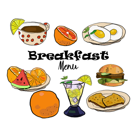 Breakfast menu set with vector hand drawn food isolated on white background in sketch style. Иллюстрация