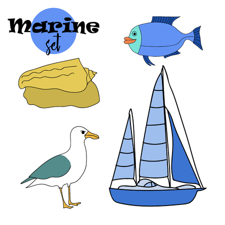 Vector drawn marine set of fish, ship, seagull, and seashel in doodle style.