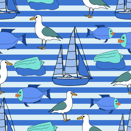 Vector drawn marine seamless pattern of fish, ship, seagull, and seashel in doodle style on striped background.