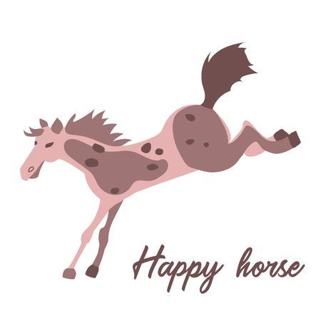 Happy horse vector illustration in cartoon style. Иллюстрация