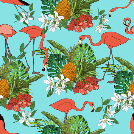 Tropical hand drawn exotic collection seamless pattern with leaves, flowers, pineapples and flamingos. Package, wallpaper, textile, cover, design.