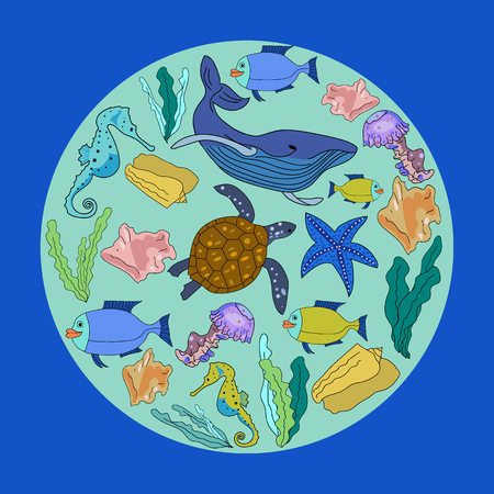 Vector drawn set with hand drawn underwater animals and plants. Turtle, sea horse, sea star, fish, sea shell, jellyfish in sketch style.