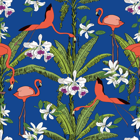 Tropical hand drawn exotic collection seamless pattern with banana palms, orchids and flamingos. Package, wallpaper, textile, cover, design.