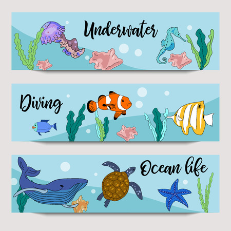 Underwater horizontal banners. Vector hand drawn illustration of oceal life, diving, sea animals, colorful fish, turtle, sea star, jellyfish.