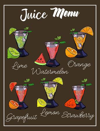 Vector drawn template for summer drinks menu with smoothies, juice, lemonade. Иллюстрация