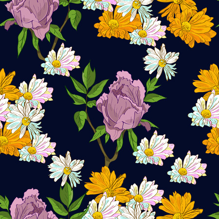 Floral hand drawn summer seamless pattern with peonies and chrysanthemum on dark blue background. Иллюстрация