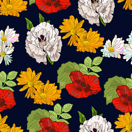 Floral hand drawn summer seamless pattern with peonies, poppies and chrysanthemum on dark blue background.