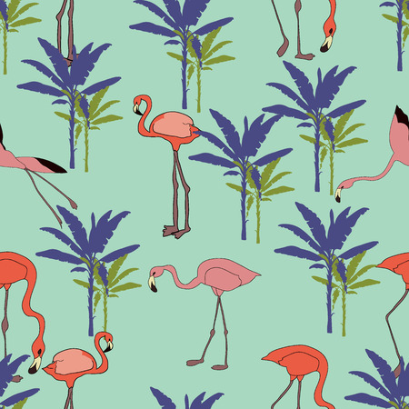 Tropical hand drawn exotic collection seamless pattern with banana palms and flamingos. Package, wallpaper, textile, cover, design.