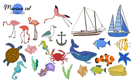 Vector drawn set of doodle marine stuff. Turtle, sea horse, sea star, ship, yacht, crab on white background.