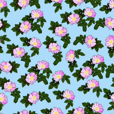 Vector drawn rose hip flowers with leaves seamless pattern. Fabric, package design idea.