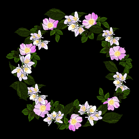 Vector drawn floral wreath of jasmine and wild rose flowers on black background.