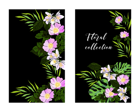 Vertical vector banners of hand drawn jasmine and wild roses. Floral collection. An idea for design, invitation, save the date card.