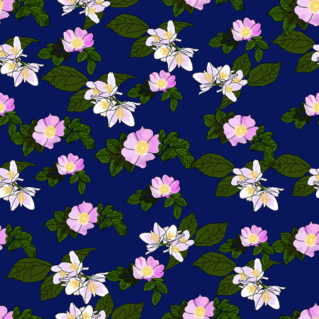 Vector drawn rose hip and jasmine flowers seamless pattern on blue background. Fabric, package design idea.