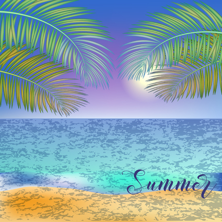 Summer tropical sea background with tropical palm leaves.