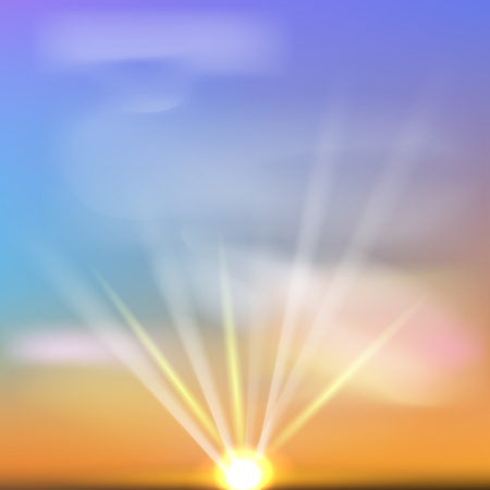 Summer sunset background with sun, sky and clouds.