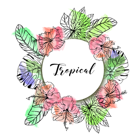 Hand drawn vector tropical hibiscus and palm leaves on watercolor background. Иллюстрация